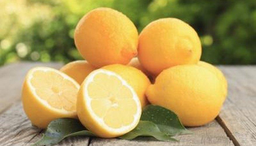 Fresh lemons on a garden table