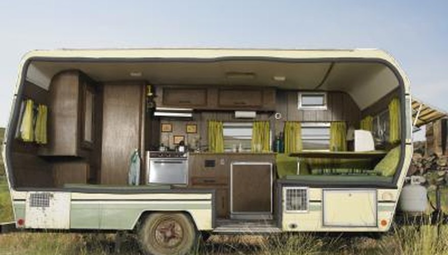 Remodeled cabinets give an old camping trailer new life.