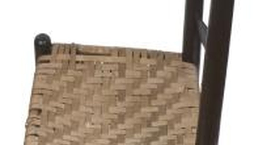 Woven chair seats can be replaced with new material when they wear out.
