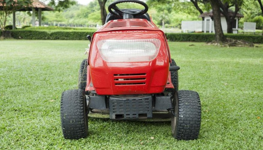 Large lawn mower on grass