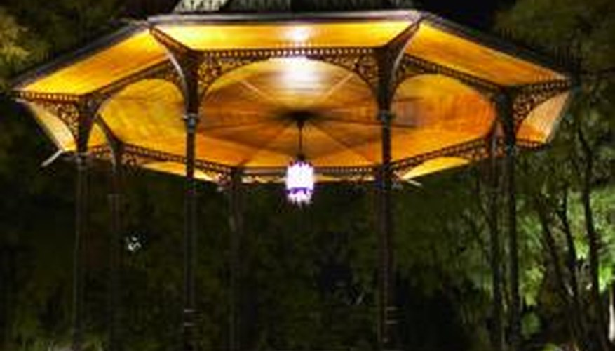 Octagonal gazebos usually have octagonal cupolas, domes or posts at their centers.