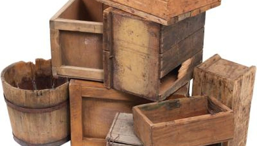Repurpose an old crate to make furniture.