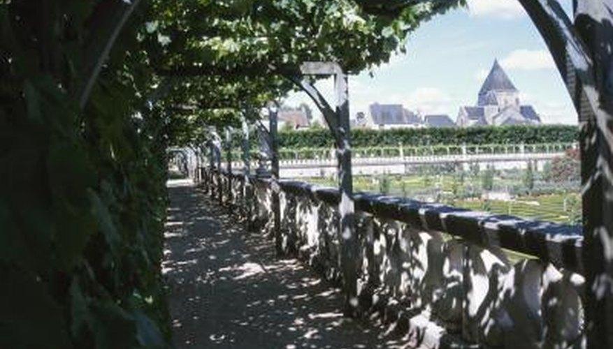 Pergolas offer shade along the edge of a building.