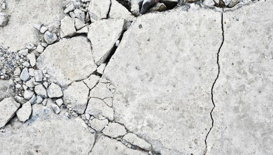 Close-up of cracking concrete.