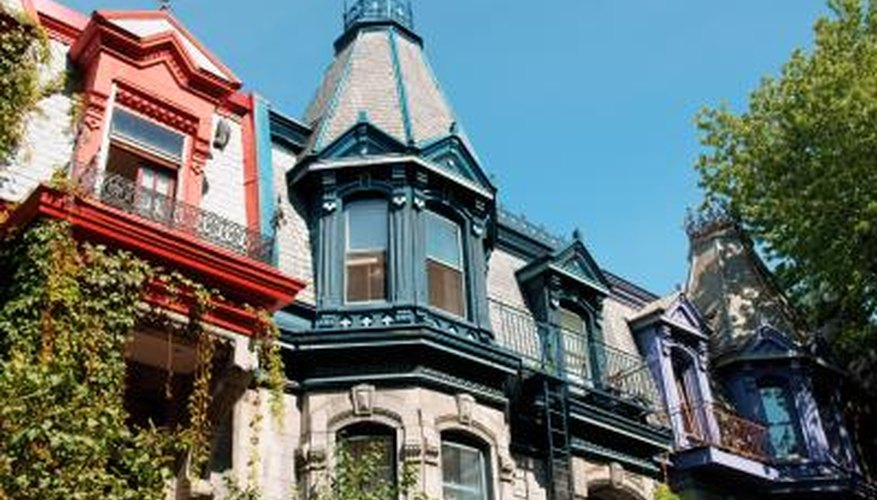Colorful victorian homes in Montreal, Canada