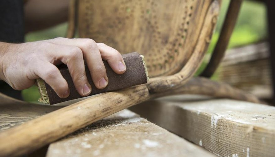 When refinishing a chair, it's best to do all the sanding by hand.