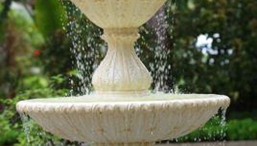 A three-tier fountain beautifies your garden.