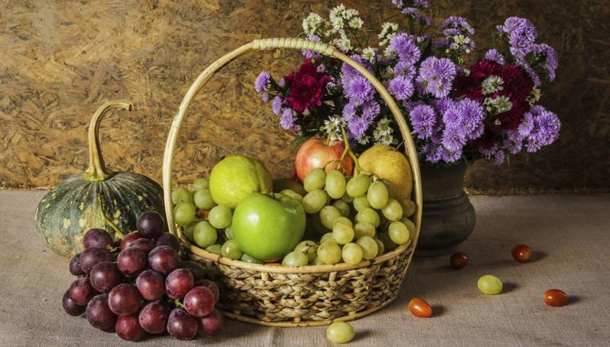 Fruit and flower arrangements are traditional subjects for kitchen art.