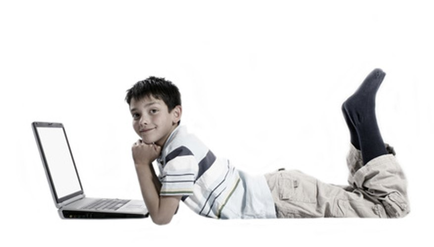 This may look like play, but he's doing math homework online.