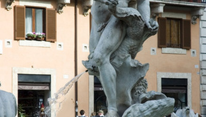 A statue by Bernini stands in the Fontana del Moro, Piazza Navona, Rome.