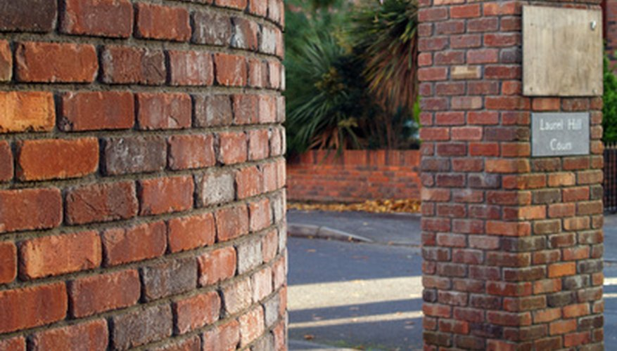 Brick used as a retaining wall and to create a column