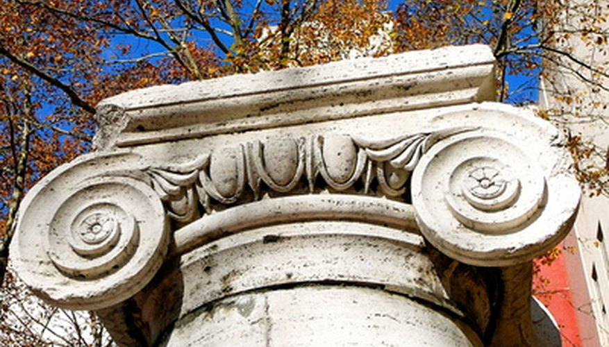 Ionic columns appear to have a scroll shape on the top.
