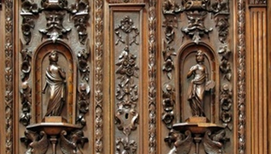Heavy engraving and other details can establish the era of antique sideboards.