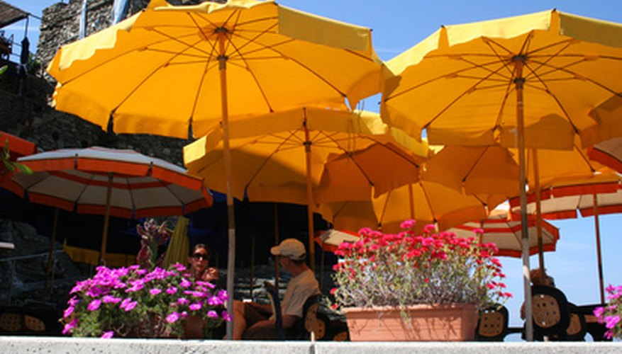 Market umbrellas add perfect shade for patios and yards.