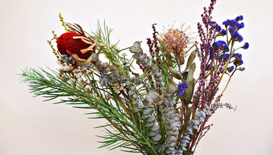 Dried flowers make long lasting arrangements.