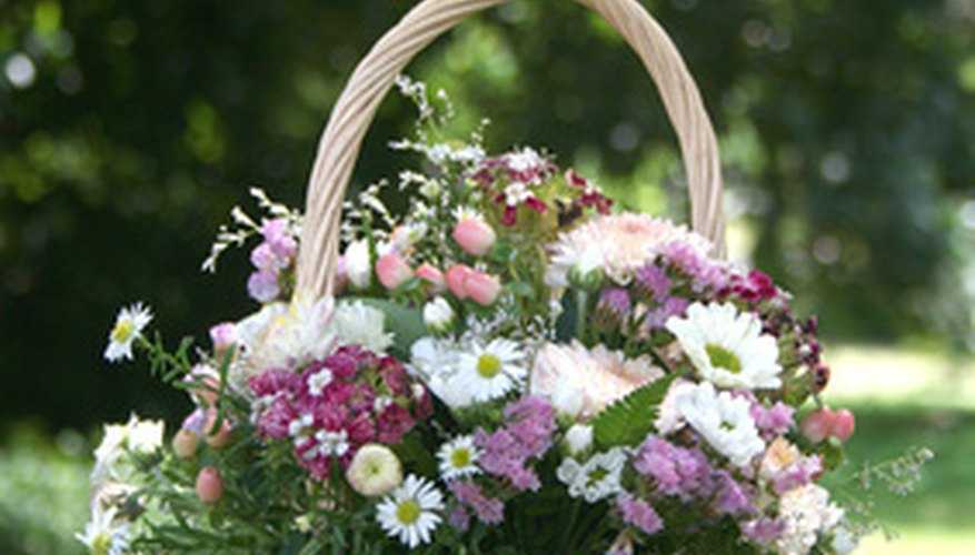 Basket of wild and garden flowers