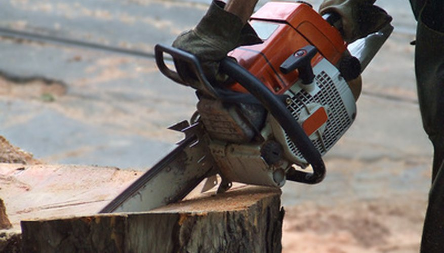 Protective gear must always be worn when operating or sharpening a chain saw.