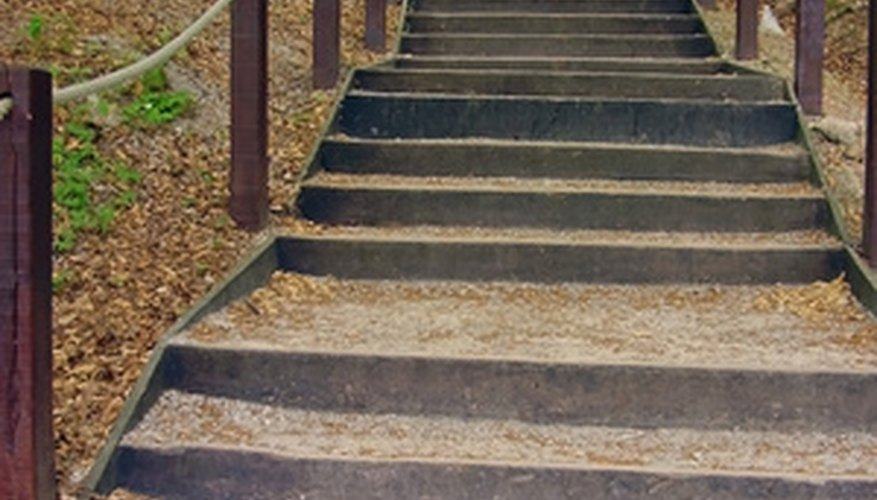Steps made of landscape timbers