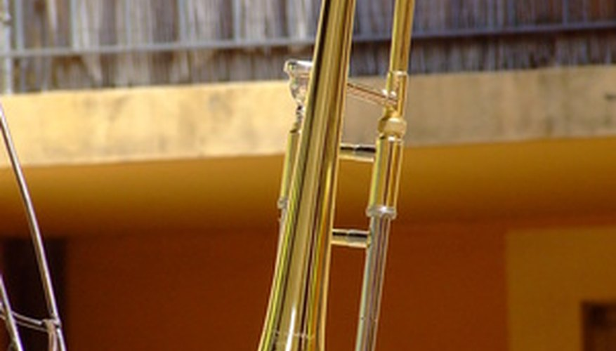 A trombone is an instrument in the brass family.