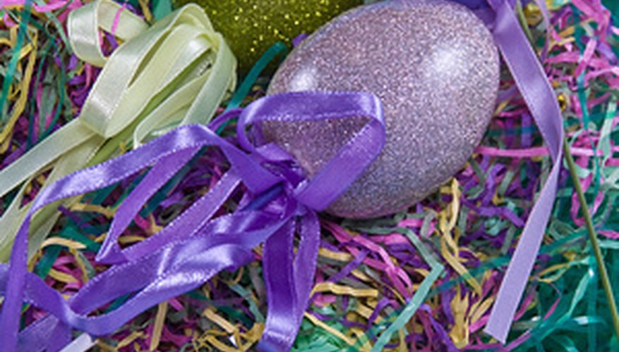 Easter grass is used to decorate the bottom of Easter baskets for kids.