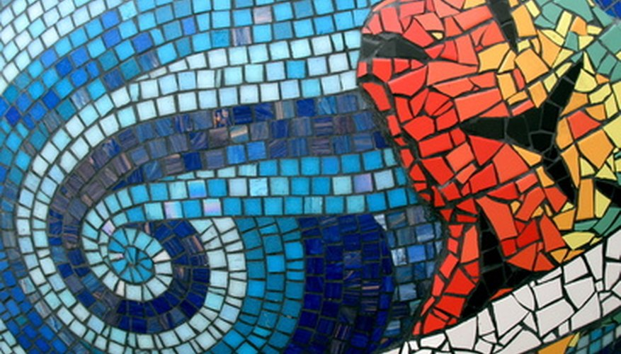 Sample of colorful tesserae used in modern Greek mosaic
