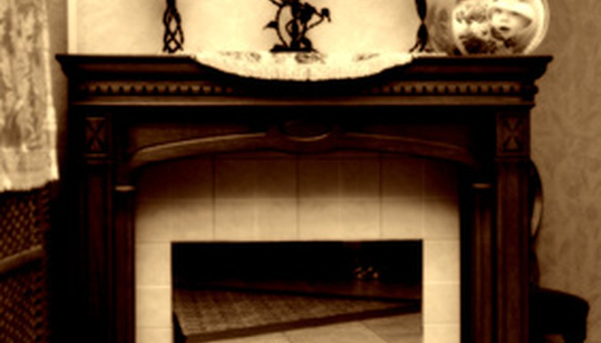 Decorate a fireplace mantel to add to your wedding decor.