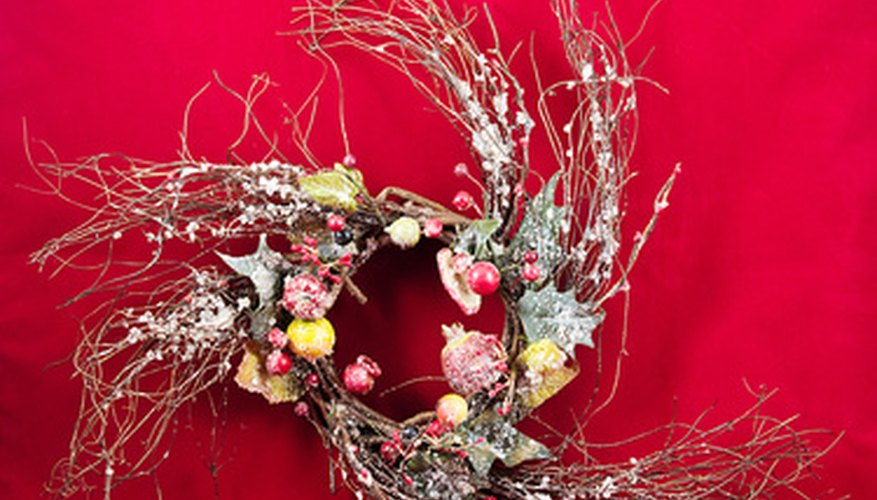 Embellish round twig wreath bases to make beautiful wall decorations.