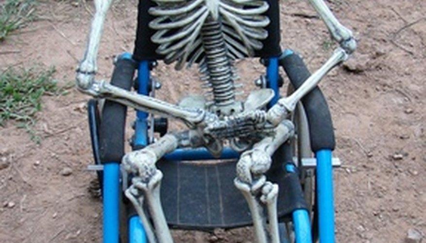 Este esqueleto es una forma barata de decoración de Halloween.
