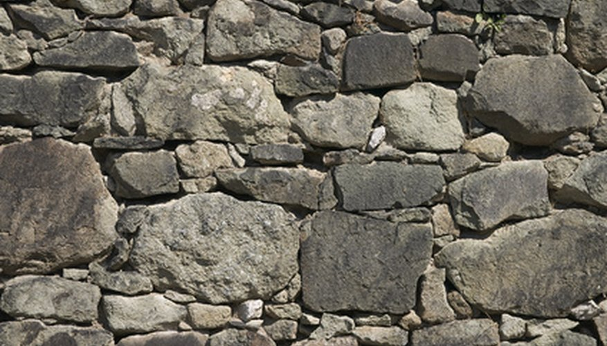 Fieldstone is a common landscape stone type for walls.