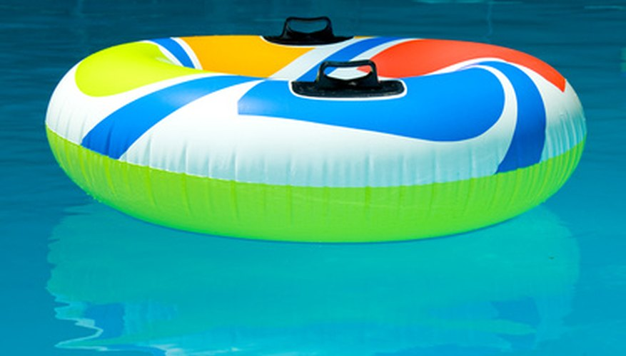 Kill algae on pool toys with bleach.