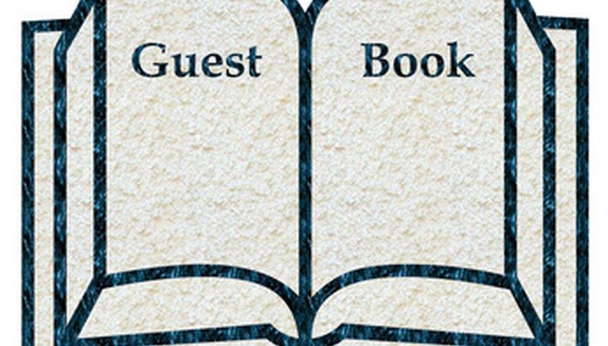 Un libro de invitados es una buena forma de que los amigos y otros invitados compartan su homenaje.