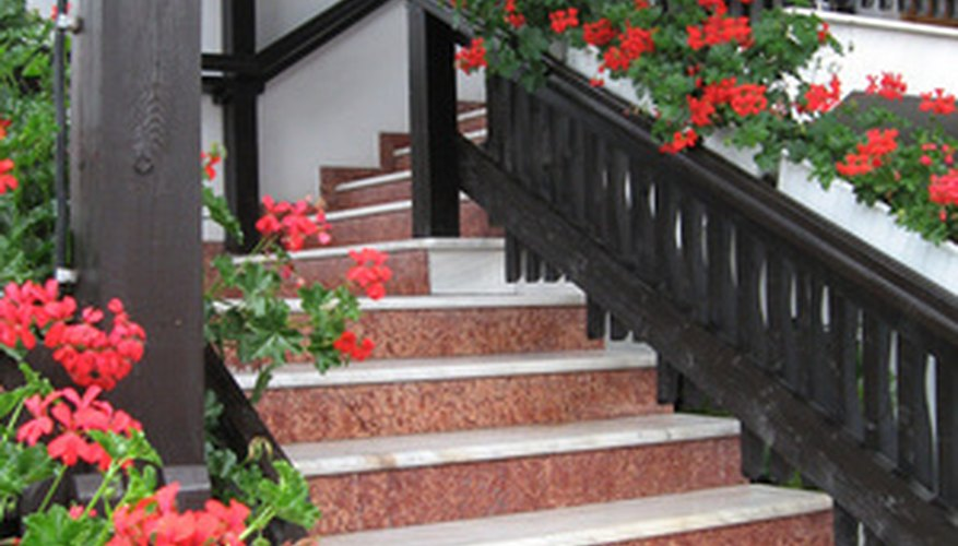 Use window boxes along stairs, as well as in windows.