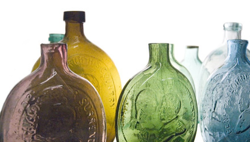 Colorful, handmade antique bottles retain their beauty and value if well-preserved.