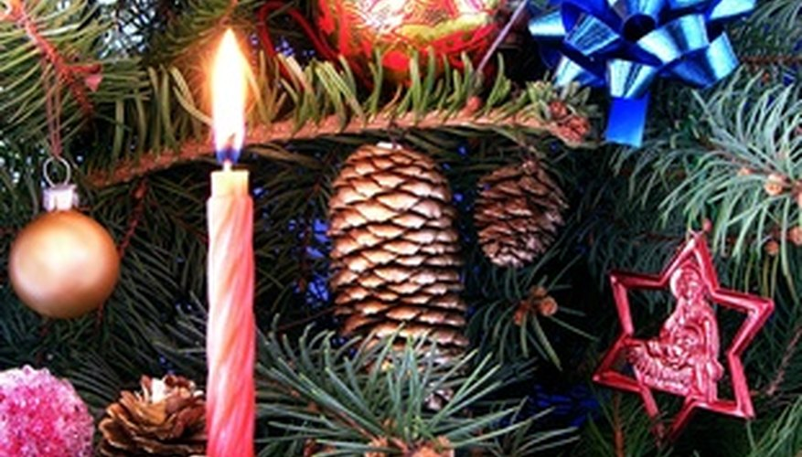 A pink candle traditionally represents the third week of Advent.