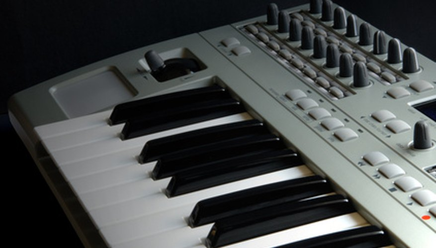 The keys of a MIDI keyboard