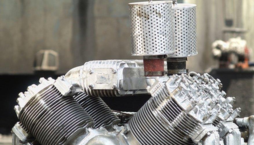 Part of old, air-cooled V4 engine at a workshop.