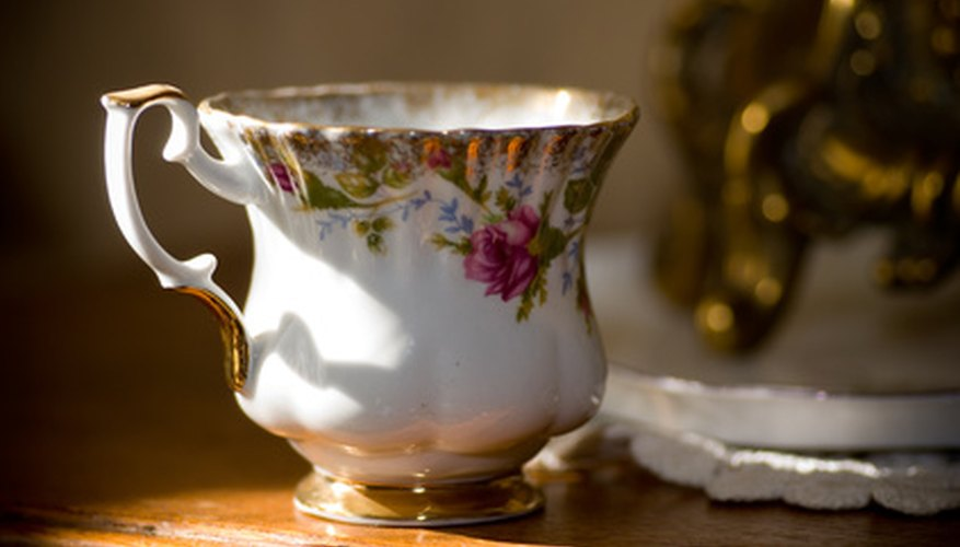 Some china cups and saucers are very delicate and detailed.