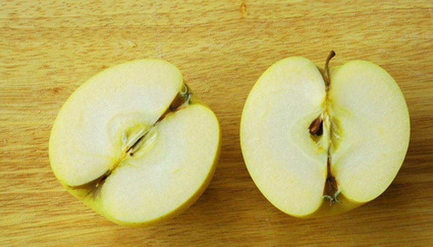 Golden delicious apples have firm, white flesh and a sweet, mellow flavor.