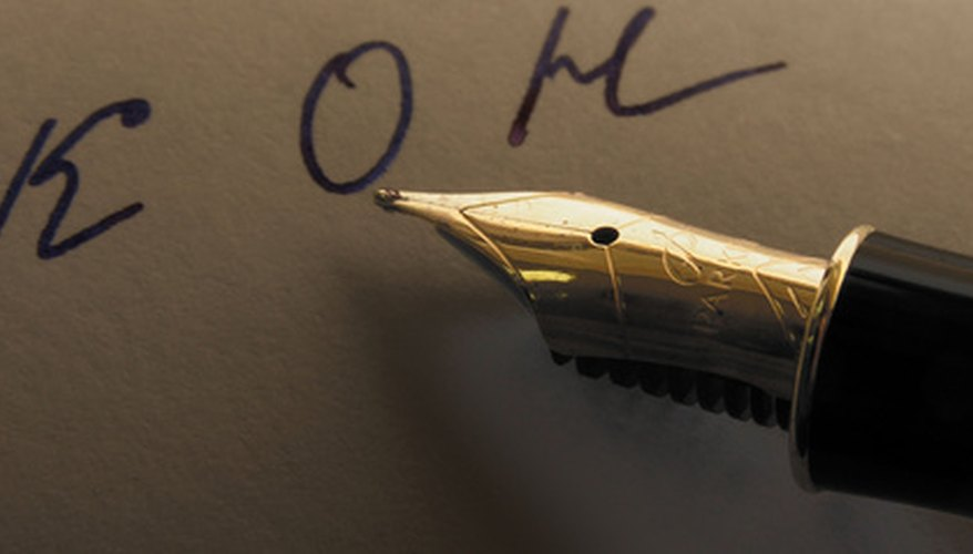 A fountain pen has a tip that allows the ink to flow through it using little to no pressure.