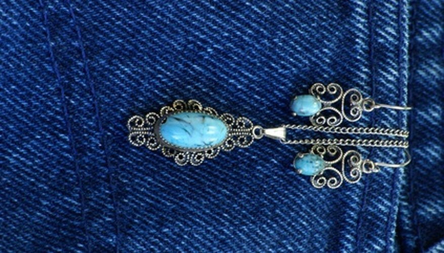 Turquoise is a semi-precious blue stone.