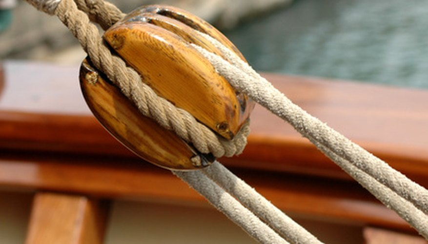 The top pulley in a block and tackle.