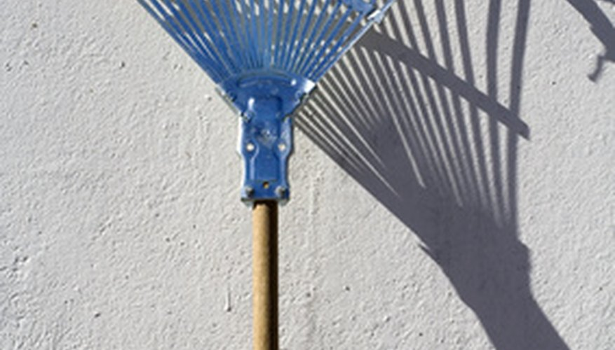 Leaf rakes have long tines in a fan shape.