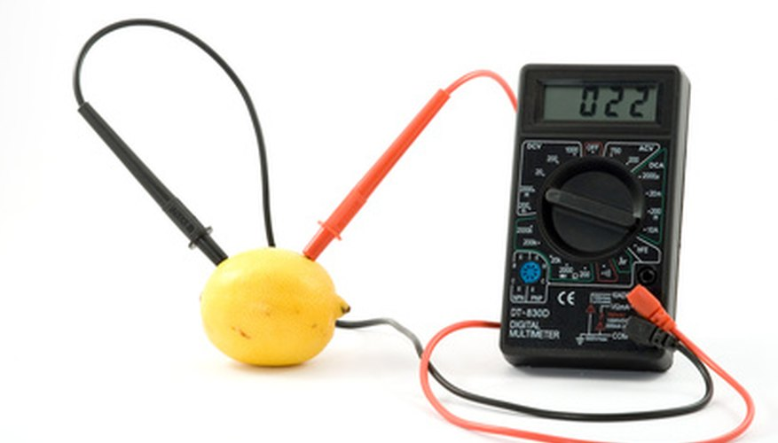 A lemon hooked up to a voltmeter