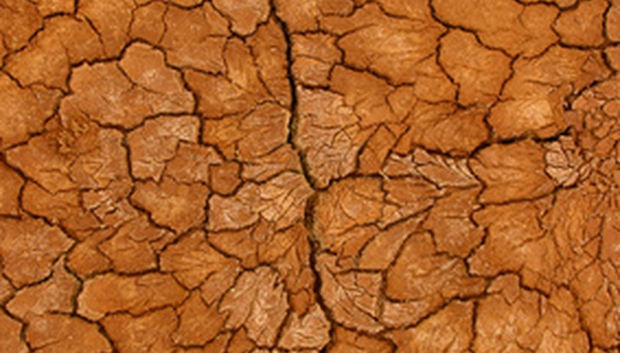 Heavily clay-based soils can crack when dry.