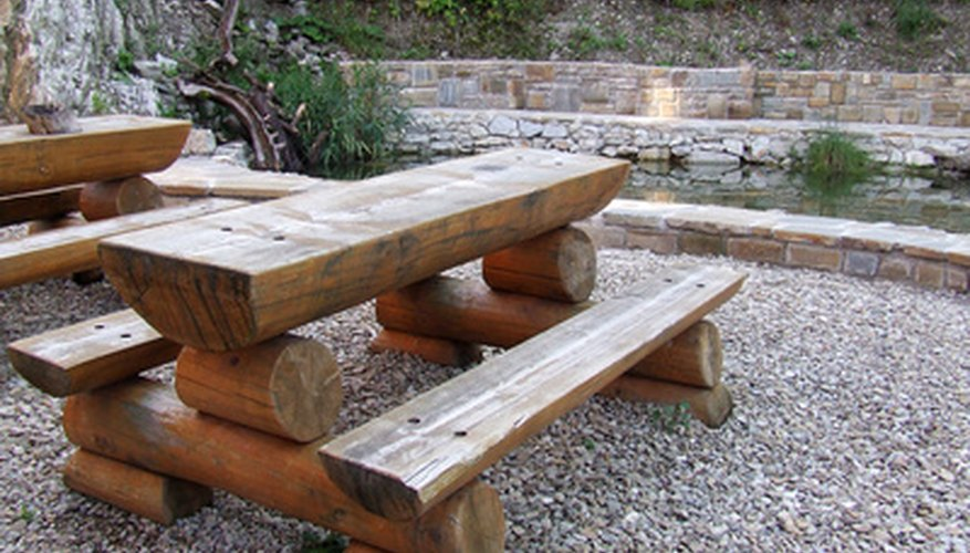 Weathered wood is used for furniture decor.