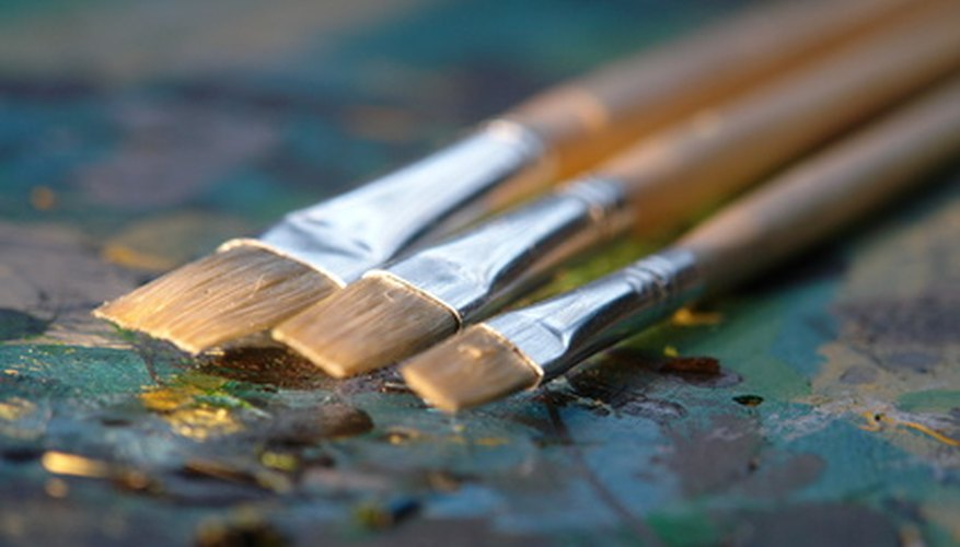 Acrylic paint can harden on paint brushes, and requires soaking to remove the paint.
