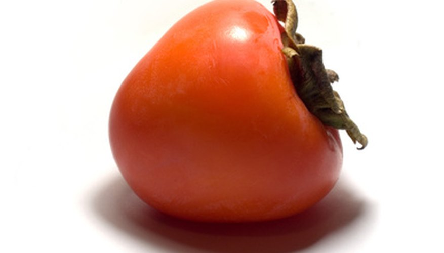 A ripe Japanese persimmon fruit.