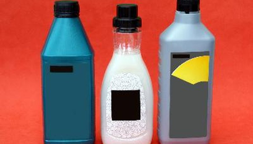 motor oil, screen wash for cars, & cleaning product for fabrics
