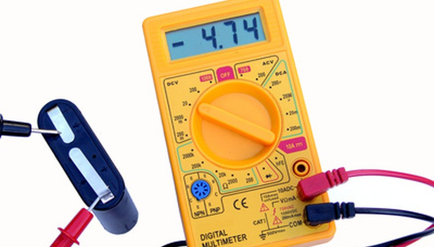 A voltmeter reports the