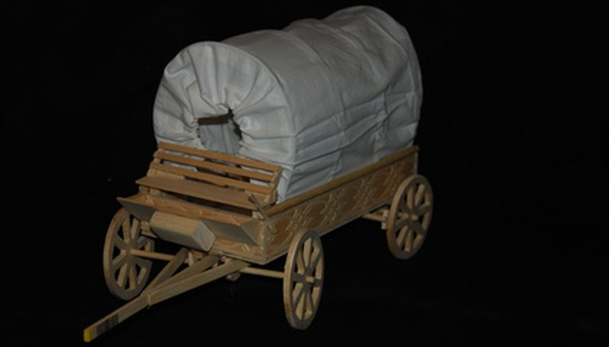 Covered wagons were used by pioneers to move across the country.